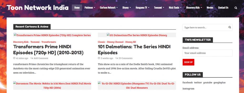 ToonNetworkIndia Anime Series Hindi Dubbed