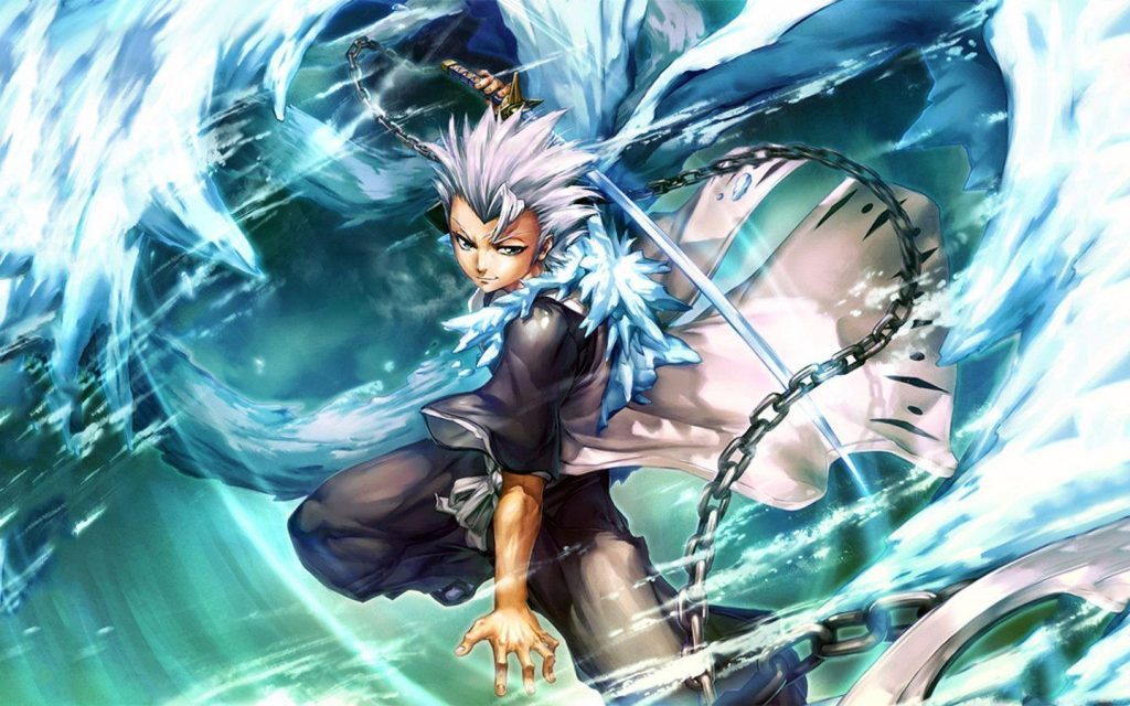 white haired anime male character Toushirou from bleach